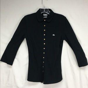 Lacoste Women's Black Button Up Polo Blouse